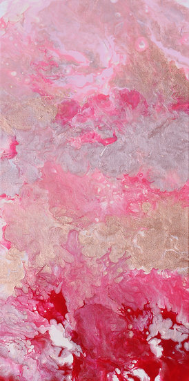 "12"" x 24"" Original Abstract Acrylic Pour Painting in Red, Pink, and Gold"