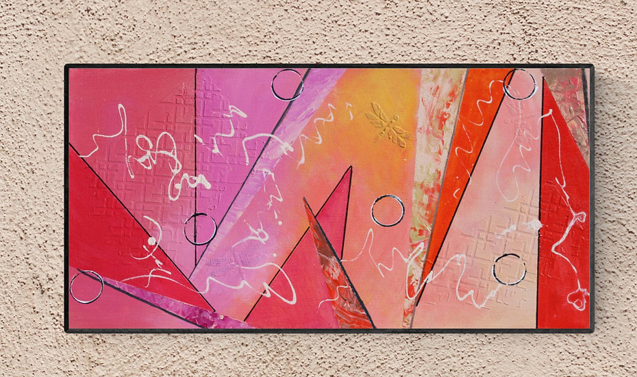 """10"""" x 20"""" Original Abstract Acrylic Painting in Red, Pink, and Yellow"""