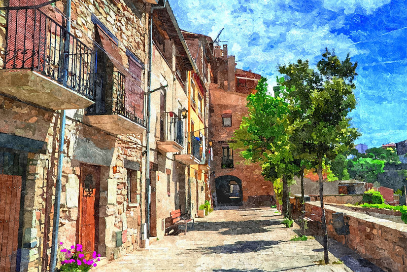 """Colorful Village Street"" Fine Art Print - 12"" x 16"""