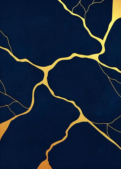"ACEO/ATC 2.5"" x 3.5"" Navy Blue Kintsugi Painting Print"