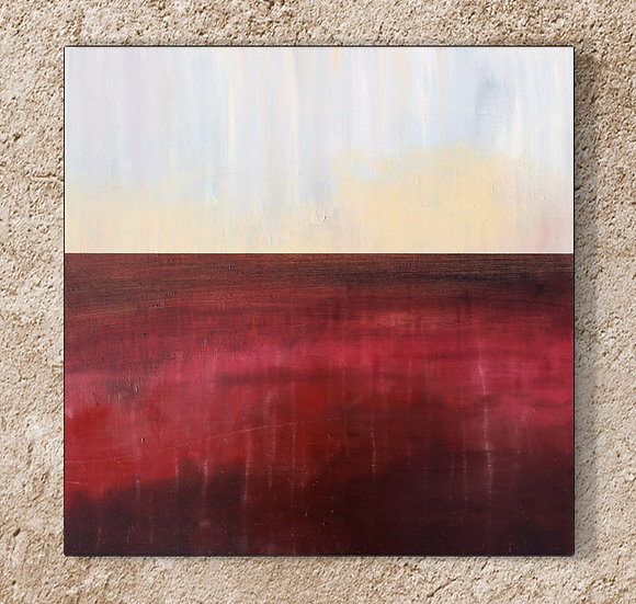 """24"""" x 24"""" Original Abstract Oil Painting in Red, Yellow, and Gray"""