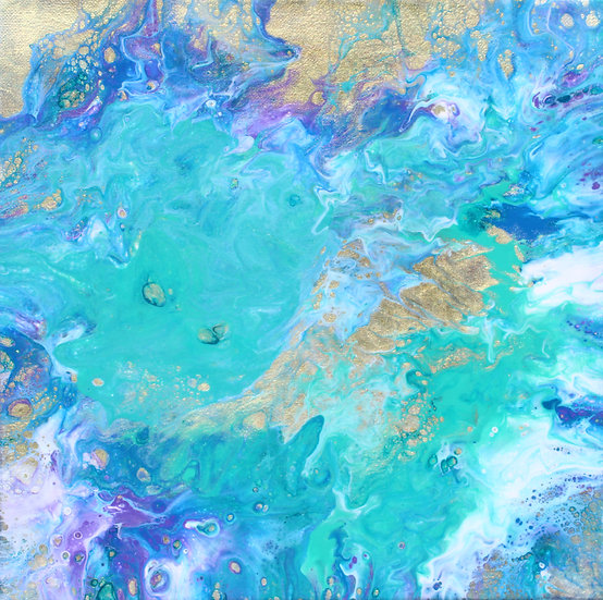 """12"""" x 12"""" Original Abstract Acrylic Pour Painting in Blue, Aqua, and Gold"""