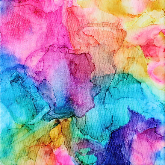 Bright and Cheery Rainbow Alcohol Ink Digital Download