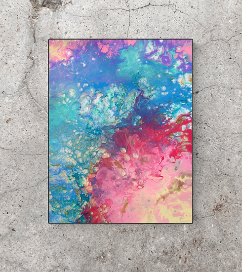 "14"" x 18"" Original Abstract Acrylic Pour Painting in Pastel Colors"