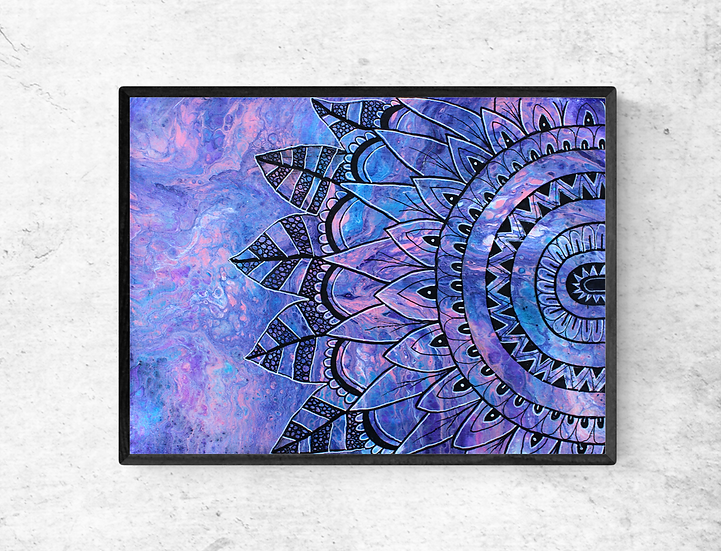"""12"""" x 16"""" Original Abstract Acrylic Pour Painting in Pink, Purple and Blue"""