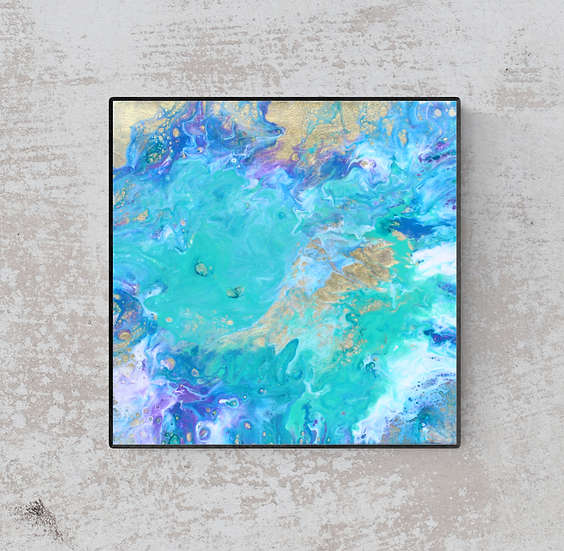 "12"" x 12"" Original Abstract Acrylic Pour Painting in Blue, Aqua, and Gold"