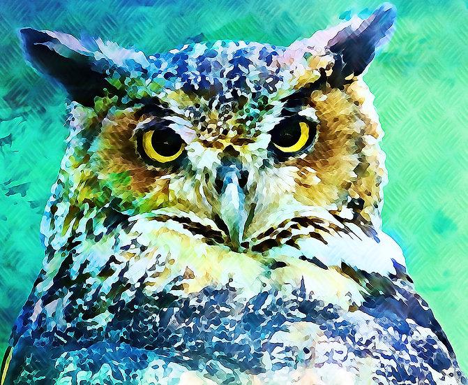 """Great Horned Owl"" Fine Art Print - 12"" x 16"""