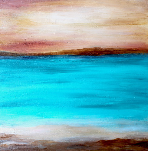 """20"""" x 20"""" Original Abstract Painting - """"Deserted Shore"""""""