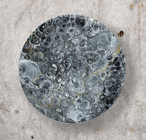 "14"" Round Moon Original Acrylic Pour Painting Black, White and Gold - 14"""