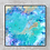 """Thumbnail: 12"""" x 12"""" Original Abstract Acrylic Pour Painting in Blue, Aqua, and Gold"""