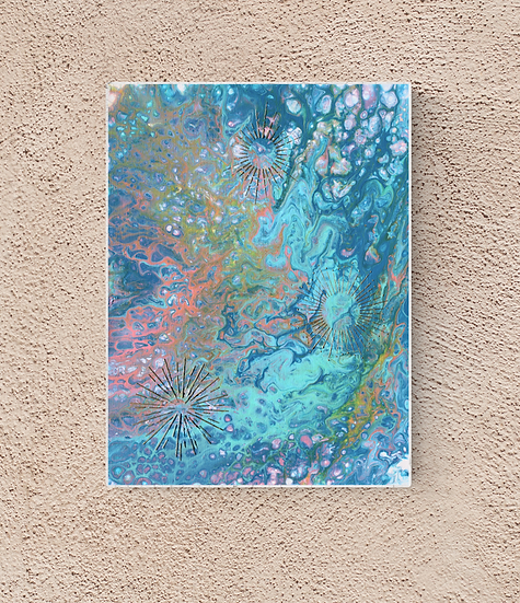 "12"" x 16"" Original Abstract Acrylic Pour Painting in Blue, Teal, and Gold"