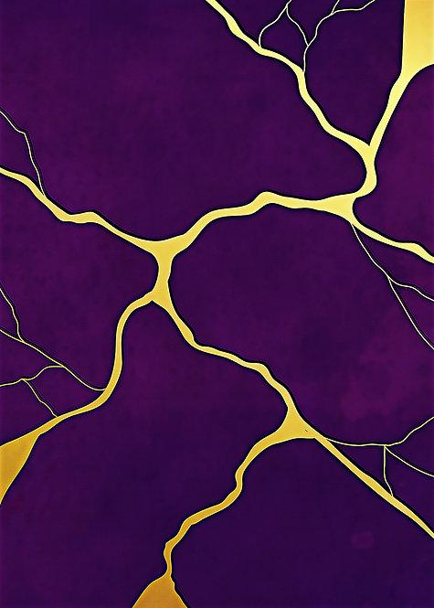 "ACEO/ATC 2.5"" x 3.5"" Purple Kintsugi Painting Print"
