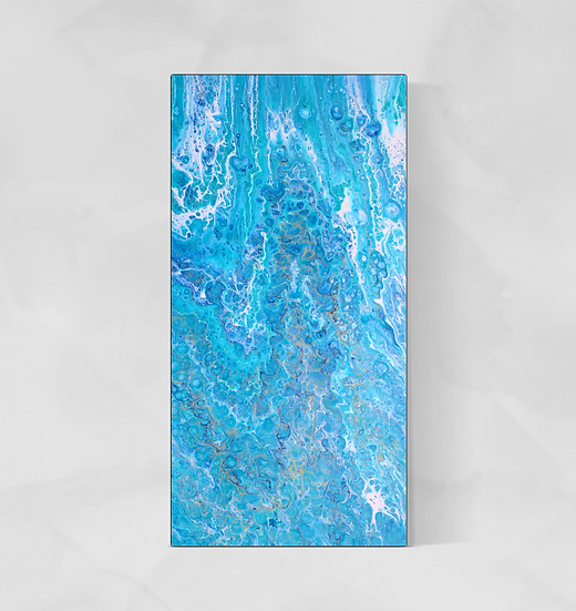 """15"""" x 30"""" Original Abstract Acrylic Pour Painting in Blue, Aqua, and Gold"""