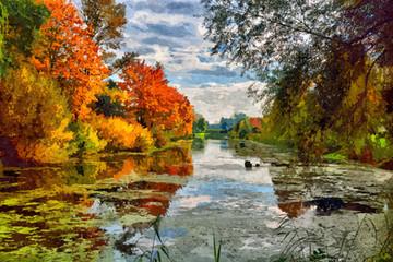 Lakeside Autumn Trees