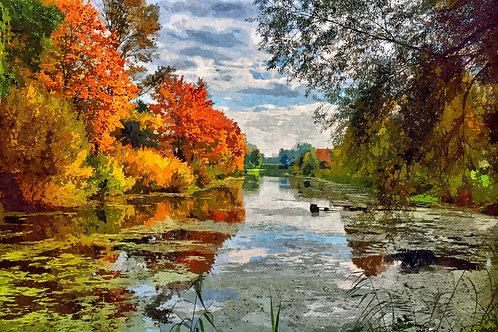 """Lakeside Autumn Trees"" Fine Art Print"