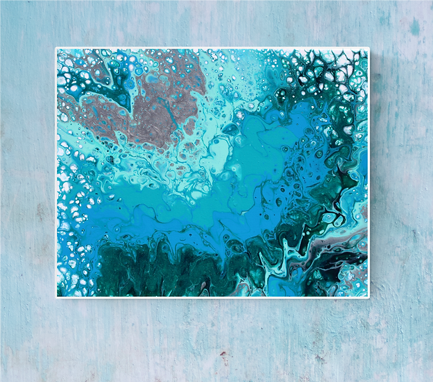 """16"""" x 20"""" Original Abstract Acrylic Pour Painting in Blue, Green, and Silver"""