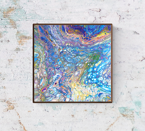 """12"""" x 12"""" Original Abstract Acrylic Pour Painting in Blue, Purple, and Green"""