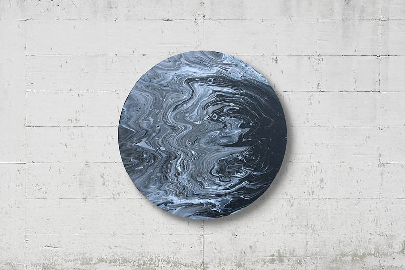 """14"""" Round Moon Original Acrylic Pour Painting in Black and White"""