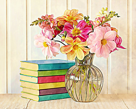 """Dahlias and Colorful Books"" Floral Fine Art Print"