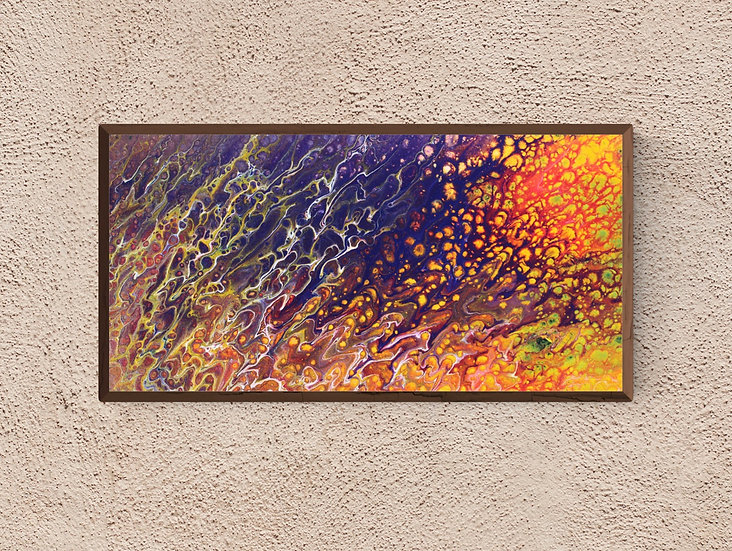 """10"""" x 20"""" Original Abstract Acrylic Painting in Blue, Orange and Yellow"""