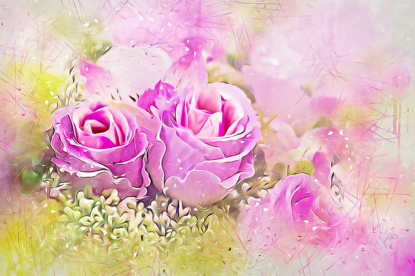 """Misty Rose Bouquet"" Fine Art Print - 12"" x 16"""