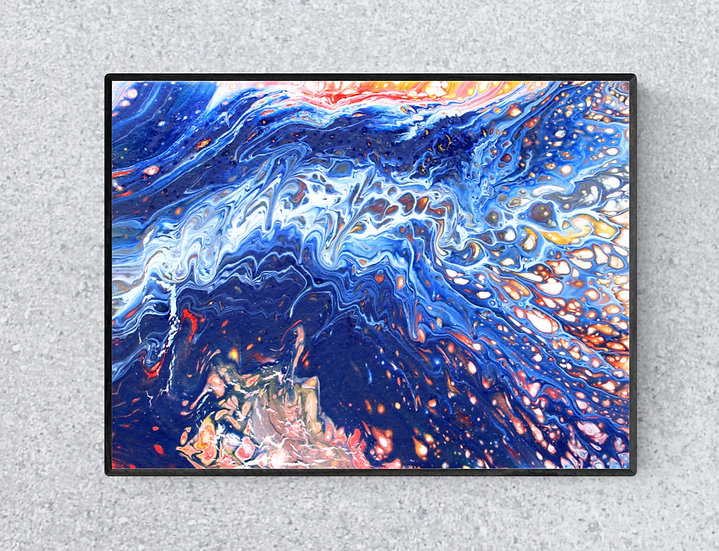 """12"""" x 16"""" Original Abstract Acrylic Pour Painting in  Blue, Orange, and Red"""