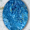 """Thumbnail: 11"""" x 14"""" Oval Original Abstract Acrylic Pour Painting in Blue"""