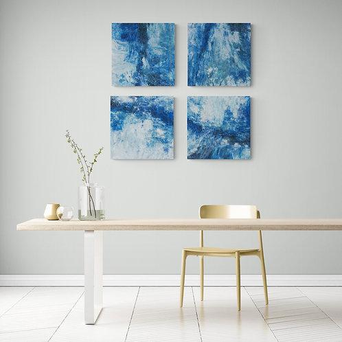 """Distressed Blue Jeans"" Set of Four Fine Art Prints"