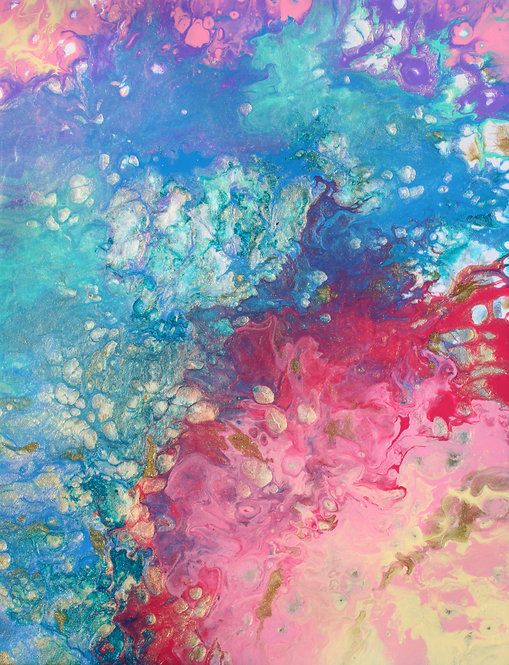 """14"""" x 18"""" Original Abstract Acrylic Pour Painting - """"Where Rainbows are Born"""""""
