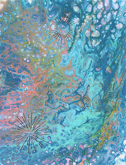 """12"""" x 16"""" Original Abstract Acrylic Pour Painting in Blue, Teal, and Gold"""