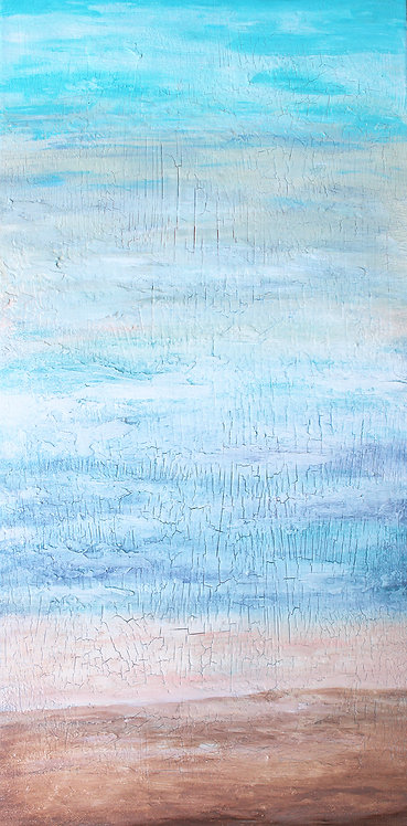 """12"""" x 24"""" Original Abstract  Painting - """"Far Off Lands"""""""