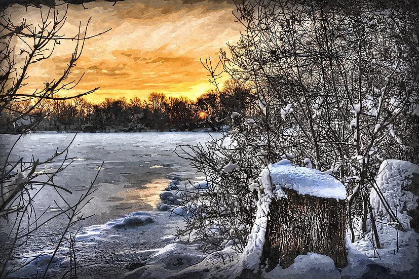 """Frozen Lake at Sunset"" Fine Art Print - 12"" x 16"""