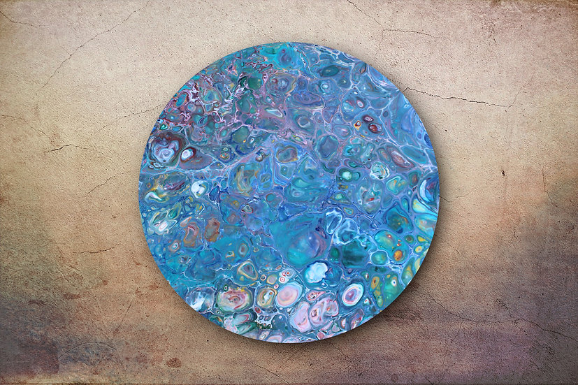 "14"" Round Original Acrylic Pour Painting in Pastel Colors"