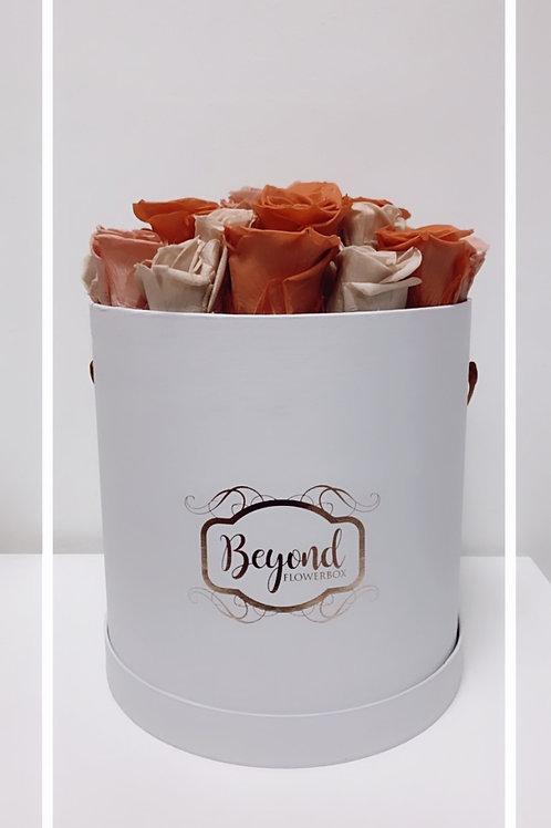 Weiße Nude-Box mit Roségold Logo
