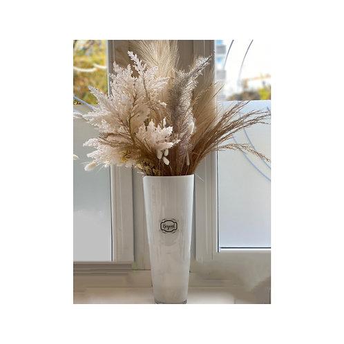 Trockenblumen in edler Glas-Vase (Large)