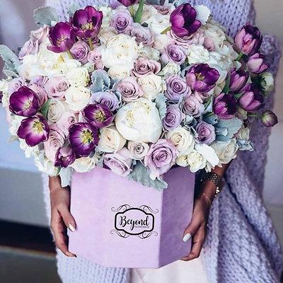Personalisierte Flowerbox mit Samtoberfläche (Preise schon ab 35,- EUR)