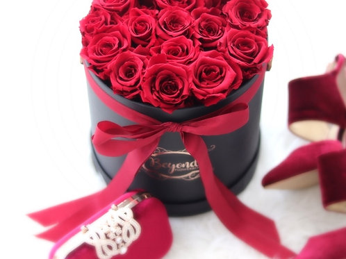 Black Gentleman L Box Red Roses