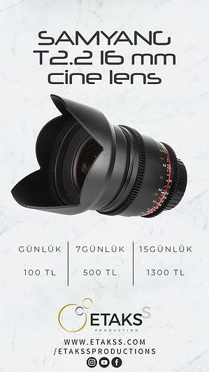 Kiralık Samyang 16mm T2.2 Cine Lens