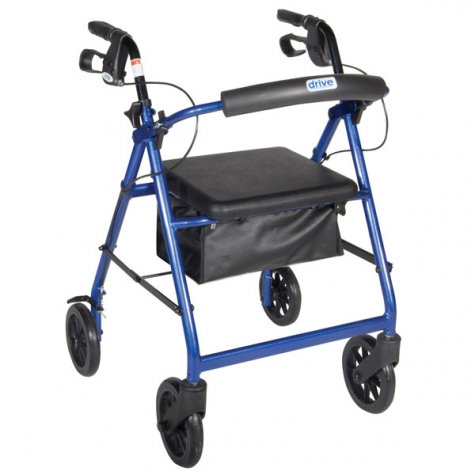 "Aluminum Rollator - Fold Up and Removable Back Support, Padded Seat, 6"" Casters"