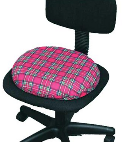 Foam Donut Cushion with Plaid Cover