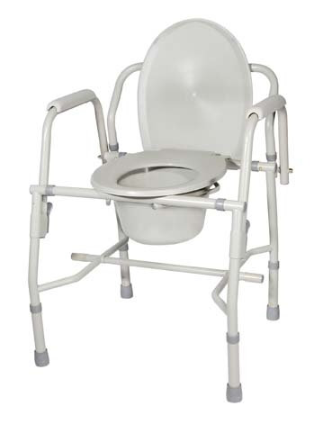 Drop-Arm Commode Steel Deluxe