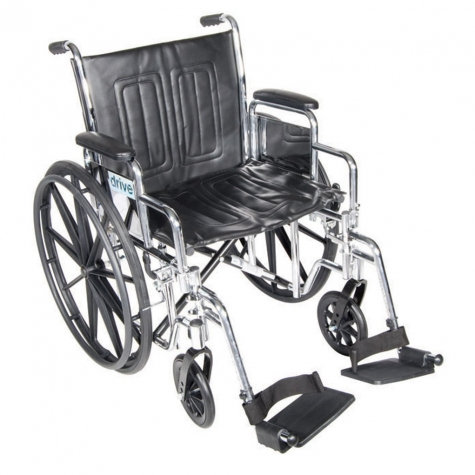 "18"" Wheelchair, Chrome Sport , Dual Axle, Swing Away Footrest"