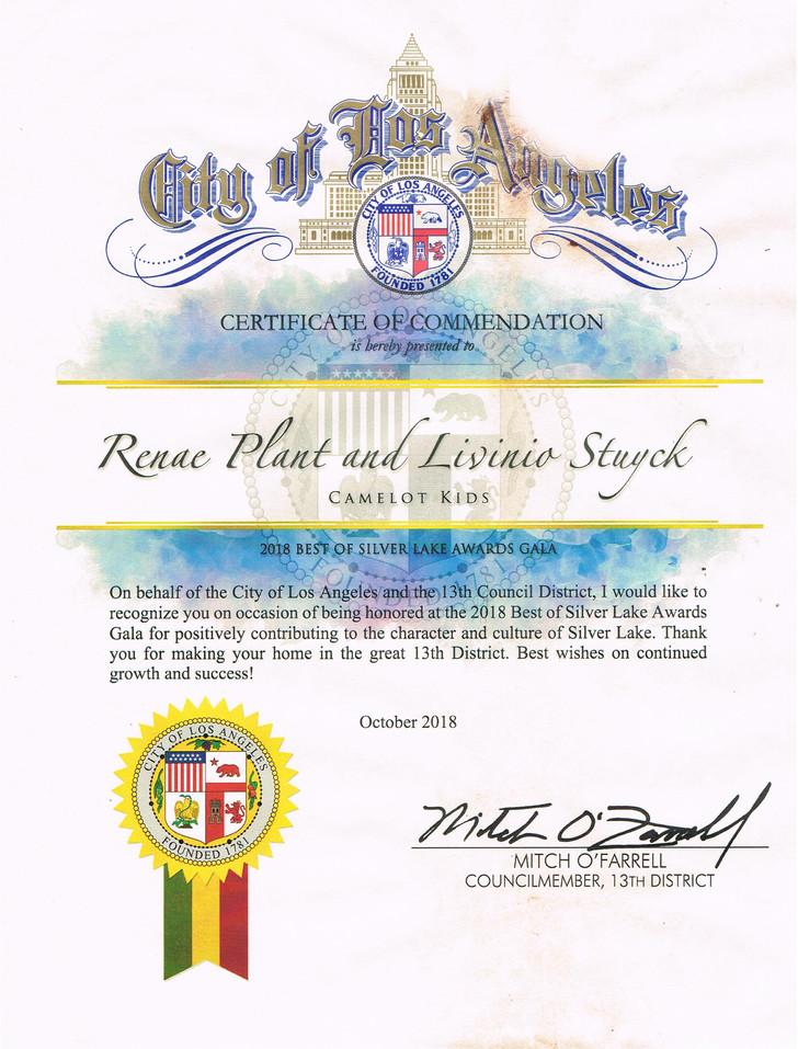 City Of Los Angeles Award 2018