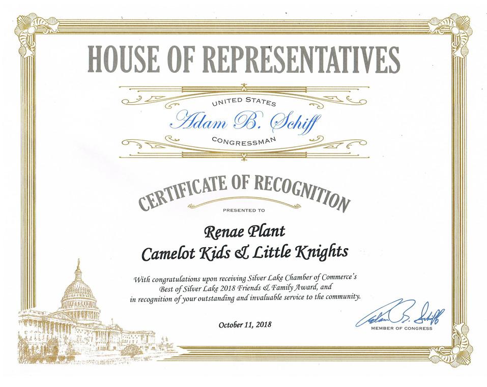 House of Reps Award - Renae 2018