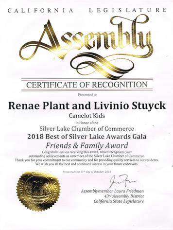 CA Assembly Award 2018