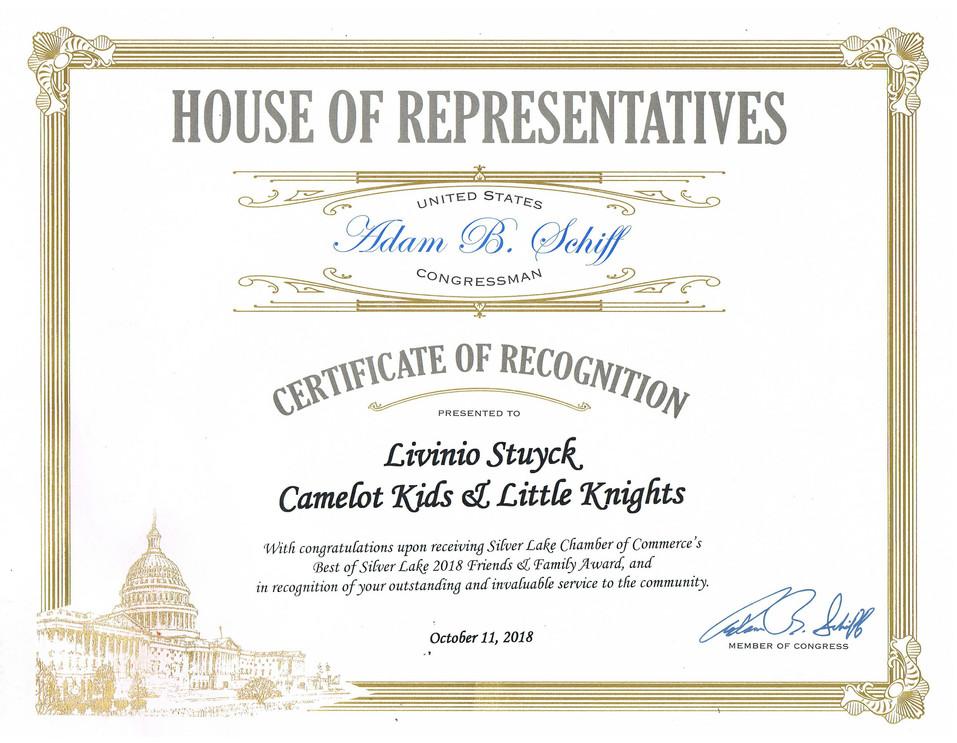 House of Reps Award  - Livi 2018