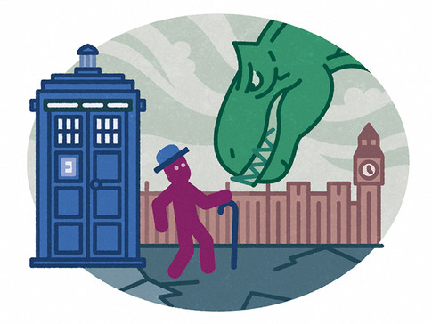 """""""A giant dinosaur from the distant past is just vomited a big blue box... from out of space."""""""