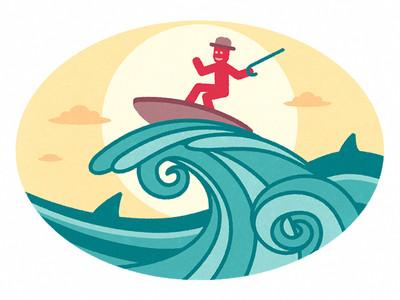 Mr Olaf szörfözik