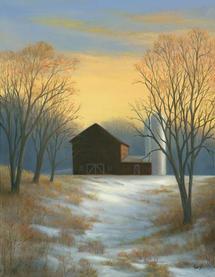 """Tarryl Gabel   """"Great Hollow Barn Winter Sunset""""et"""