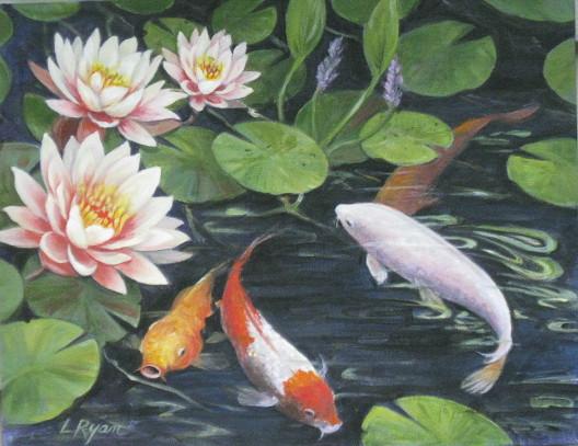 Koi Fish & Waterlilies